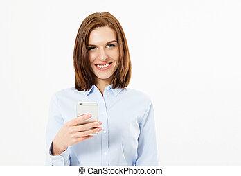 femme, fond, smartphone, brunette, tenue, portrait, sourire, blanc