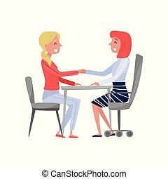 femme, fond, spécialiste, séance, hr, jeune, illustration, employeur, métier, vecteur, jobseeker, tenant mains, entrevue, table, blanc, avoir