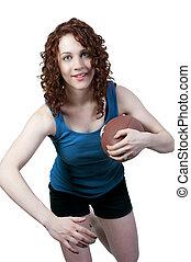 femme, football, jouer