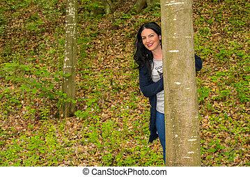 femme, forêt, heureux