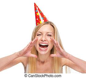 femme, formé, casquette, jeune, cris, par, mains, fête, porte voix, heureux