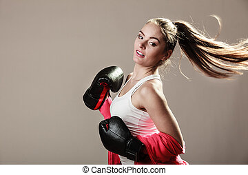 femme, formation, boxing., féministe
