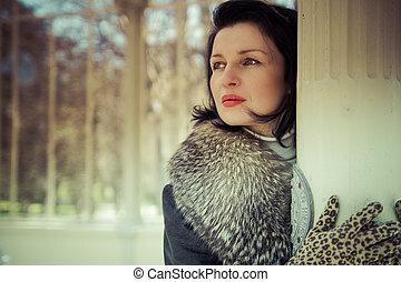 femme, fourrure, russe, mode, winter.beauty, hat., young.portrait., élégant, modèle, palace.beautiful, girl