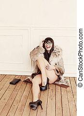 femme, fourrure, séance, manteau, mode, floor.