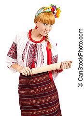 femme foyer, à, rouler, pin., femme, usures, ukrainien, robe nationale, isolé, blanc, fond