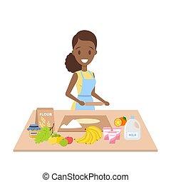 femme foyer, cuisine, tarte