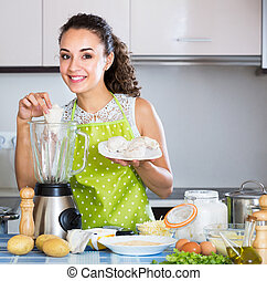 femme foyer, pâté, gai, émoulage, ingrédients