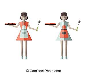 femme foyer, tenue femme, frais cuit, pie., vecteur, illustration, dans, plat, style, isolé, sur, white.