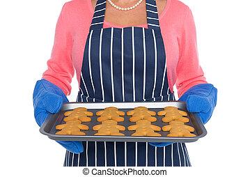 femme, fraîchement, hommes, haut, tenir fermeture, pain épice, cuit