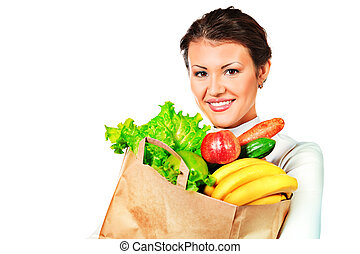 femme, fruits