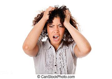 femme, frustré, business
