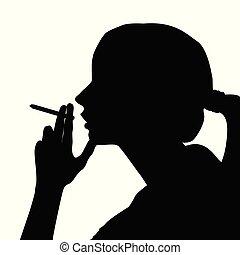 femme, fumée, silhouette