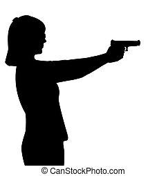 femme, fusil, silhouette