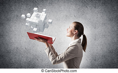 femme, géométrique, cubes, 3d, projection