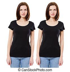 femme, gabarit, jeune, isolé, t-shirt, arrière-plan noir, vide, devant, blanc