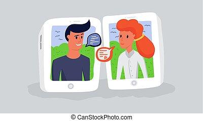 femme, gadgets., illustration., bavarder, communication, moderne, internet, vecteur, par, ligne, messager, homme