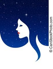 femme, galaxie, figure