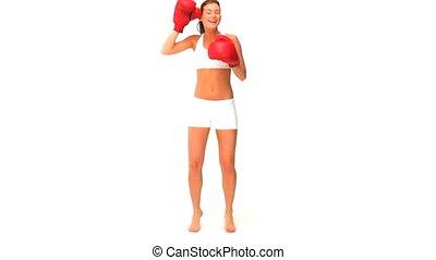 femme, gants, rouges
