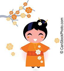 femme, geisha, isolé, kimono, orange, blanc