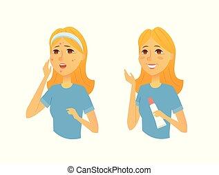 femme, gens, après, -, illustration, traitement, caractères, peau, dessin animé, avant