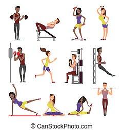 femme, gens, caractères, set., isolé, vecteur, fond, fitness, blanc mâle, athlètes, dessin animé