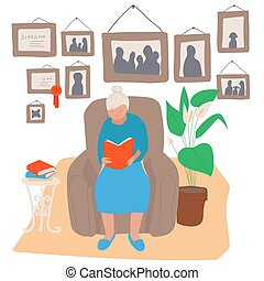 femme, gens, illustration, séance, fauteuil, livre lecture, vecteur, personnes agées