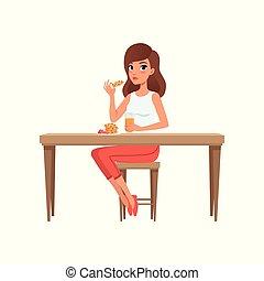 femme, gens, jeune, illustration, vecteur, quotidiennement, fond, routine, activité, blanc, avoir, petit déjeuner