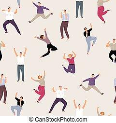 femme, gens, modèle, seamless, sauter, heureux, homme