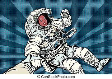 femme, geste, américain, astronaute, africaine, ok