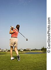 femme, golf., jouer