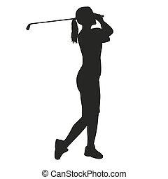 femme, golfeur, silhouette