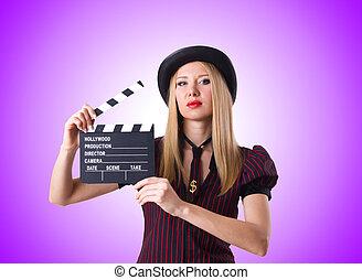 femme, gradient, film, contre, gangster, planche