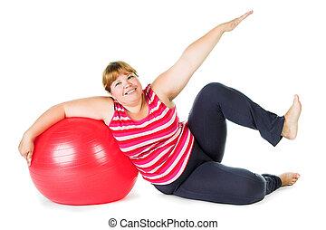 femme, graisse, fitness