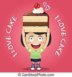 femme, grand, chocolat, porter, gâteau, heureux