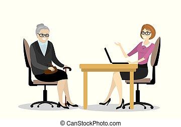 femme, grand-mère, affaires conversation, bureau, dessin animé
