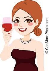 femme, grillage, vin