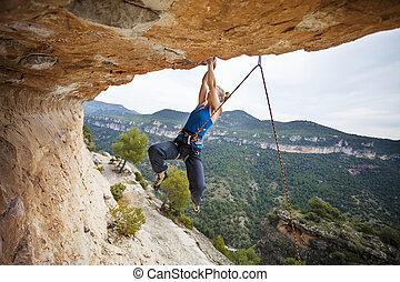 femme, grimer, suivant, lutter, grimpeur, mouvement