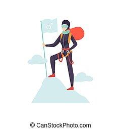 femme, grimpeur, dans, protecteur, casque, et, lunettes, debout, à, drapeau, sur, sommet montagne, vecteur, illustration