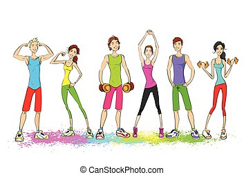 femme, groupe, coloré, gens, vêtements, jeune, isolé, entraîneur, culturiste, sport, fond, fitness, blanc, muscle, athlétique, homme