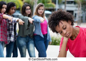 femme, groupe, filles, intimider, américain, africaine