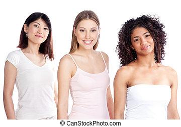 femme, groupe, multiethnic