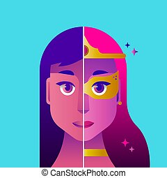 femme, héros, illustration, concept, déguisement, super
