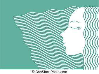 femme, hair., portrait, vecteur, illlustration, long