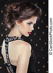 femme, hairstyle., g, maquillage, élégant, brunette, mode, ...