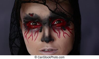 femme, halloween, image., make-up.