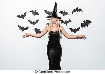 femme, halloween, jeune, noir, déguisement, wich, chapeau, heureux