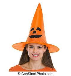 femme, halloween, jeune, portrait, chapeau, heureux