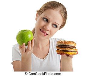 femme, hamburger, malsain, sain, nourritures, jeune, isolé, séduisant, fond, entre, blanc, choix, marques, pomme