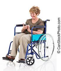 femme, handicapé, téléphone, utilisation, personne agee, intelligent