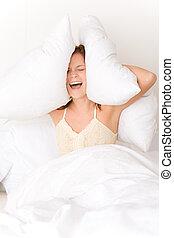 femme, haut, chambre à coucher, -, obtenir, paresseux